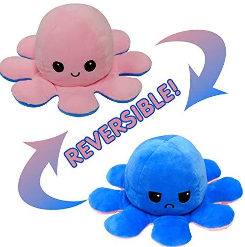 XHDH Juguetes De Peluche De Pulpa De Pulpo Reversible Suave, Juguetes De Peluche De Doble Cara, Octopus Más Muñeca De Animales De Peluche, para Niños/Niños/Niñas/Amigos,Rosado