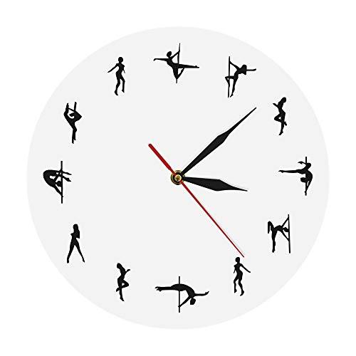 Ayanx Wandklokken Paaldansers Minimalistisch ontwerp Modern Nachtclub Wanddecoratie Alarm Chick Dansende strippers Decoratieve klok Horloge cadeau Zwart/wit
