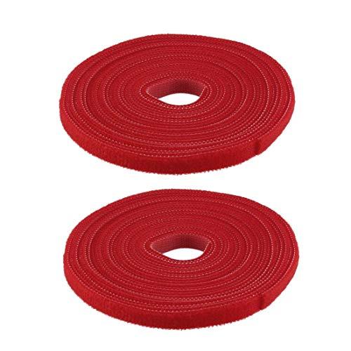 DyniLao Sujetacables reutilizables 5m 16.4ft Correas de alambre Sujetador de cable ajustable Rojo 2pcs