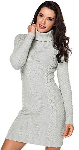 SZIVYSHI Langarm Wasserfallausschnitt Rollkragen Geometrisch Zopfmuster Strickpullover Pullover Sweater Tunika Strickkleid Minikleid Mini Bodycon Etui...