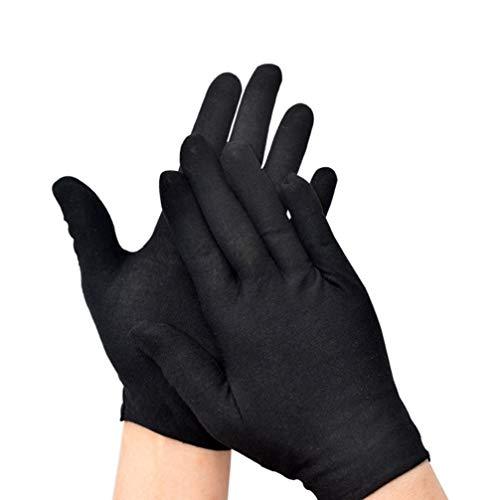 Milisten 12 Paar Baumwollhandschuhe Schwarz für Kosmetische Feuchtigkeitsspendende Münzschmuck Inspektion Ehrenschutzhandschuhe Schwarz Größe M (Dünn)