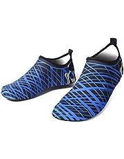 Bestgift Men's Women's Quick-Dry Non-slip Swimming Beach Shoes Blue Stripes 40-41