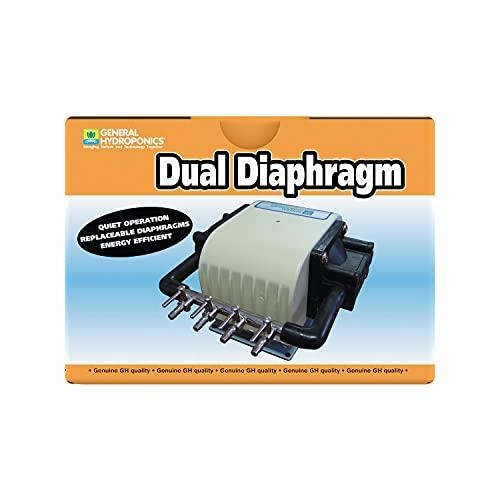 General Hydroponics HGC728040 Dual Diaphragm Air Pump 320 GPH 4 Outlet