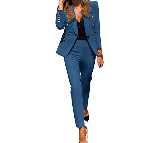 Tuta da Donna a Due Pezzi Tinta Unita,Completo da Donna a Maniche Lunghe con Pantaloni per Ufficio e Lavoro,Elegante Tailleur con Pantaloni,Blazer Top Giacche da Abito+Pantaloni da Completo Set Blu M