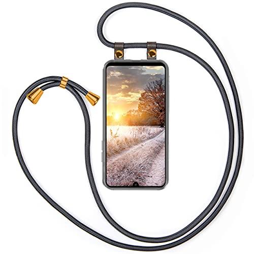 moex Handykette kompatibel mit Huawei P30 Pro/P30 Pro New Ed Hülle mit Band Längenverstellbar, Handyhülle zum Umhängen, Silikon Hülle Transparent mit Kordel Schnur abnehmbar in Anthrazit
