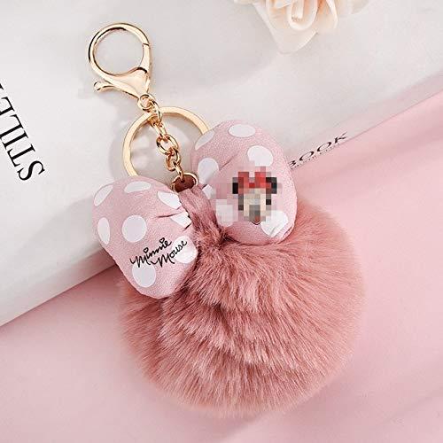Bowknot Bola de Piel de Conejo pompón para Coche Llavero Bolso llaveros joyería Mujer Coche Bolso Llavero llaveros chaveiros - Cuero Rosa
