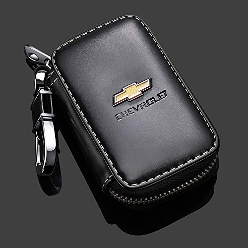 Gaocar Auto Parts Car Key case for Chevrolet,Genuine Leather Car Smart Key Chain Keychain Holder Metal Hook and Keyring Zipper Bag for Remote Key Fob - Black (for Chevrolet)