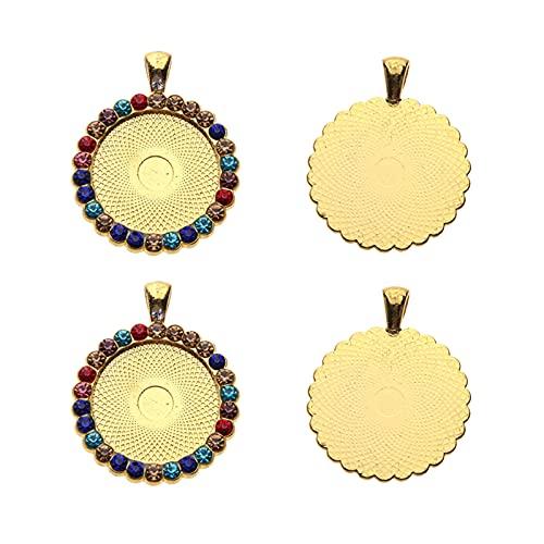 SM SunniMix Bandejas Colgantes de Bisel de Diamantes de imitación de 4 Piezas, Ajuste de camafeo de Cristal Redondo, cabujón, Base en Blanco para proyectos de - Oro