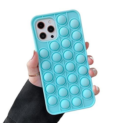 "Cocomii Push Pop Fidget Toy iPhone 12/12 Pro Case, Slim Matte Soft TPU Silicone Push Pop Bubble Fidget Sensory Toy Anxiety Stress Fun Bumper Cover Compatible with Apple iPhone 12/12 Pro 6.1"" (Blue)"