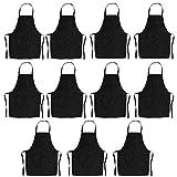 Trebien Latzschürze 11 Stück – Unisex Schwarz Schürze Großverpackung, mit Fronttasche, maschinenwaschbar, für Küche, Basteln, Grillen, Malen Schwarz