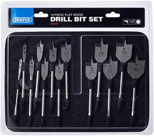 Draper 82634–Set di punte piatte per legno, argento (pezzi)