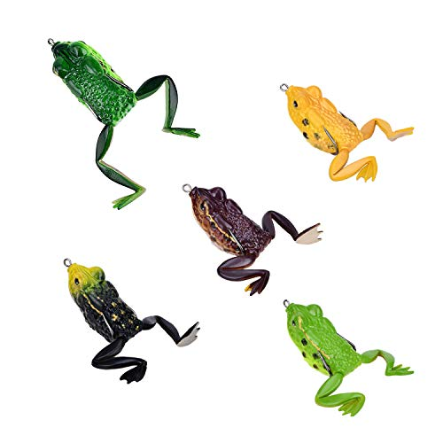 Topwater Frog Fishing Lures for Bass Pike Hollow Soft Body Floating Frog Bait Artificial Soft Baits Swim Frog Legged with 2 Rugged Hooks (Frog-B)