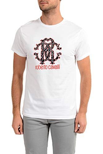 Roberto Cavalli HSH00T - Camiseta de manga corta para hombre Bianco White S