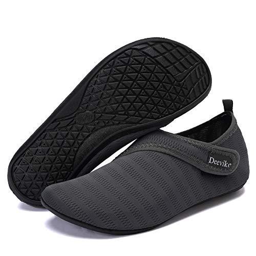 Deevike Damen Water Shoes Herren Barfuß Aqua Socken Slip on Yoga Übungsschuhe für Strandschwimmen Surf Pool Tauchen Dunkelgrau Straps 40/41