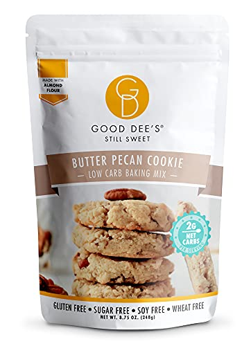 Good Dees Low Carb Baking Mix, Butter Pecan Cookie Mix, Keto Baking Mix, No Sugar Added, Dairy-Free, Gluten Free, Soy-Free, Diabetic, Atkins & WW Friendly – (1g Net Carbs, 12 Servings)