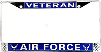 Old Dominion LLC US Air Force  USAF  Veteran License Plate Frame   Perfect Veteran & Airman Gift   Stainless Steel Frame