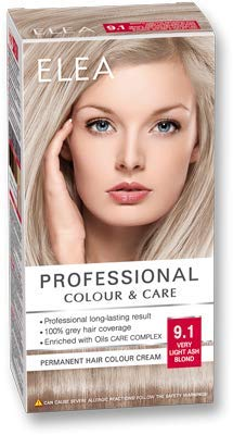 ELEA PROFESSIONAL CREME DE COLORATION PERMANENTE POUR CHEVEUX 9.1 blond cendré très clair AVEC COMPLEXE DE SOIN D'HUILES
