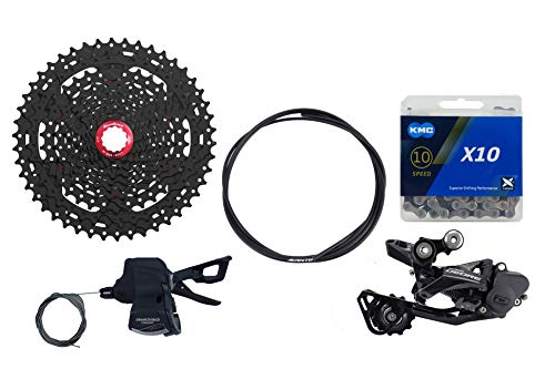 JGbike Compatible 10 Speed MTB 4pc groupset for Shimano Deore M6000: Right Shift Lever SL-M6000-R,Medium cage Rear Derailleur RD-M6000-GS, Sunrace CSMX3 11-46T Black Cassette, KMC X10 Chain