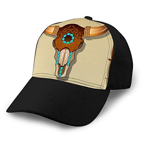 hyg03j4 3 Sombreros Teñidos Lavados Gorras De Béisbol Incrustaciones De Cráneo De Toro Ajustable Primer Pergamino Bac