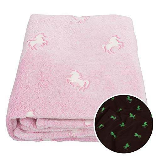 SOCHOW Glow in The Dark Throw Blanket 50 × 60 Inches, Unicorn Pattern Flannel Fleece Blanket, All...
