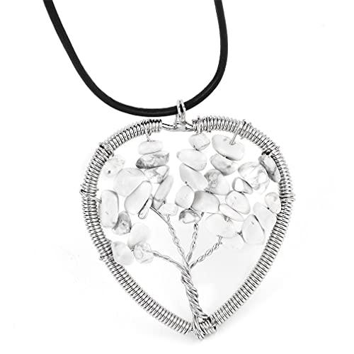 Hanone Corazón de Mujer/Ópalo Ovalado/Collar con Colgante de Piedra miscelánea con Cuerda de Cuero Blanco Corazón de Piedra miscelánea