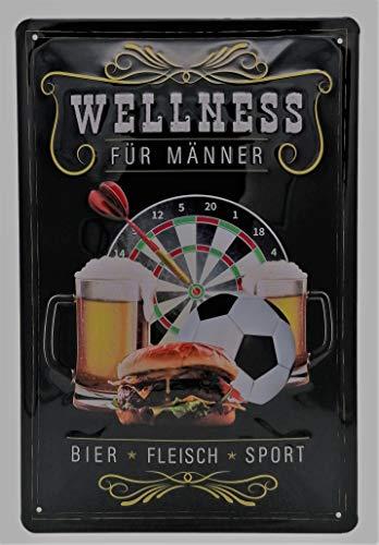 Männer Wellness Blechschild, Fussball, Dart, Bier und Burger Motiv, Lustiger Spruch, Barschild, geprägtes Blechschild 30 x 20 cm, Wanddekoration, Küchenschild