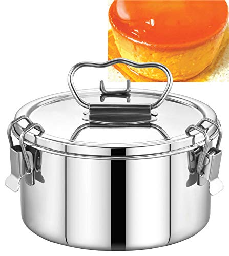 EasyShopForEveryone Stainless Steel Flan Mold 38 oz, Ergonomic Handle for Easy Lifting, Compatible with Instant Pot 3 qt [6qt, 8qt avail], Pot in Pot Cooking, Bakeware, Pressure Cooker Accessories