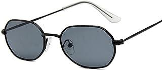 QWKLNRA - Gafas De Sol para Hombre Montura Negra Lente Negra Gafas De Sol Ovaladas Vintage contra-UV Retro Lente Transparente Gafas Gafas De Sol Cuadradas para Mujer Hombre Uv400 Ciclismo Viajes Pesca