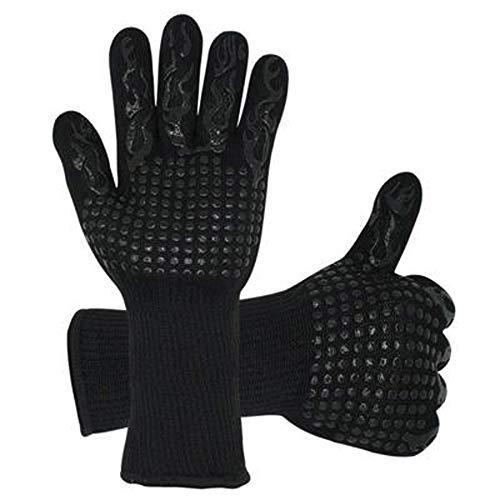 CompraFun Grillhandschuhe, Ofenhandschuhe Hitzebeständig Topfhandschuhe bis zu 800 ° C Kochhandschuhe Backen BBQ Schwarz Handschuhe Schweißen