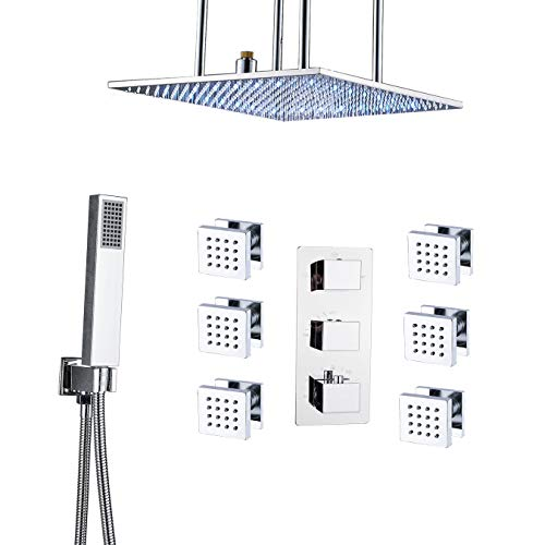 Rozin Chrome Bathroom Thermostatic Shower Faucet Ceiling Mounted LED 20-inch Rain Showerhead + Hand...