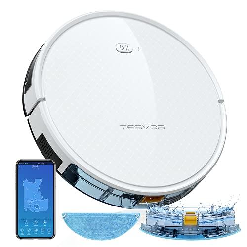 Saugroboter,TESVOR X500pro Saug-Wischroboter 2 in 1 Intelligente Gyroskope-Navigation Reinigungsroboter 350ML elektronischer Wassertank Reinigungsanzeige in Echtzeit für Glattböden