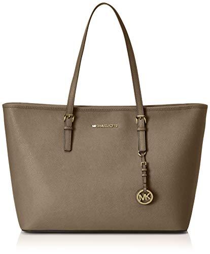 Michael Kors Womens Jet Set Travel Leather Tote Shopper Handbag Taupe Large