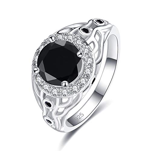 Emsione 925 Sterling Silver Plated Created Black Spinel 4-Prong Round Brilliant CZ Cut Halo Anniversary Wedding Engagement Ring Band Size 8 Color Black -  IBWC-0297R11-8|0618dcjcloer1