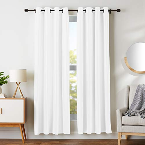 "AmazonBasics Room-Darkening Blackout Curtain Set with Grommets - 52"" x 84"", White"