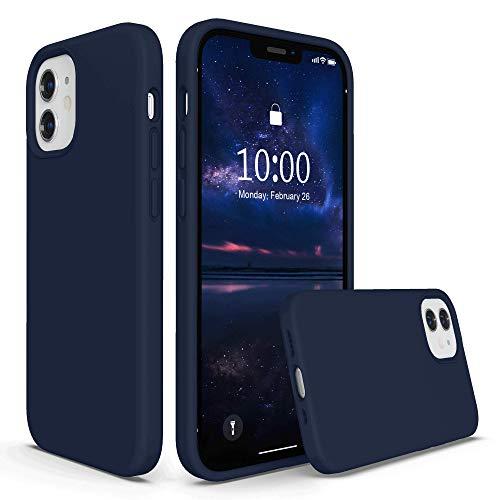 SURPHY Cover Compatibile con iPhone 12 Mini Case(5,4'), Custodia in Silicone Liquido per iPhone 12 Mini Cover Antiurto con Fodera in Microfibra Full Body Case per iPhone 12 Mini, Deep Navy