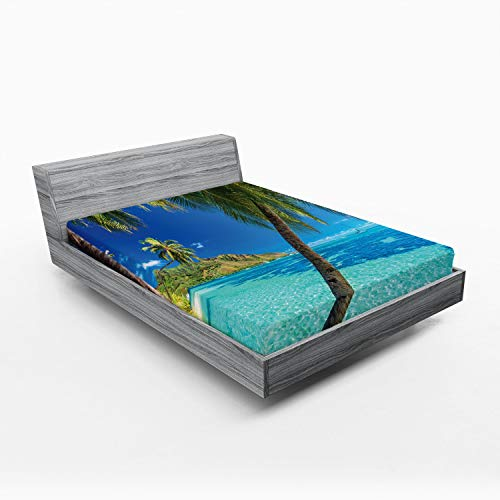 Ambesonne Ocean Fitted Sheet, Image of a Tropical Island with The Palm Trees and Clear Sea Beach Theme Print, Soft Decorative Fabric Bedding All-Round Elastic Pocket, Queen Size, Turquoise Blue