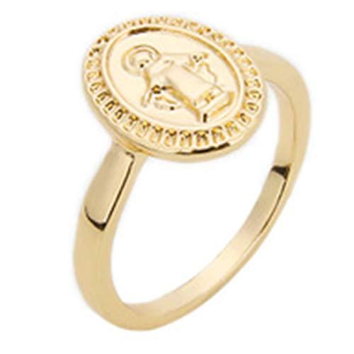 qindegong - Anillos Redondos para Mujer, diseño de círculos de la Virgen María (sin 7 de Oro)