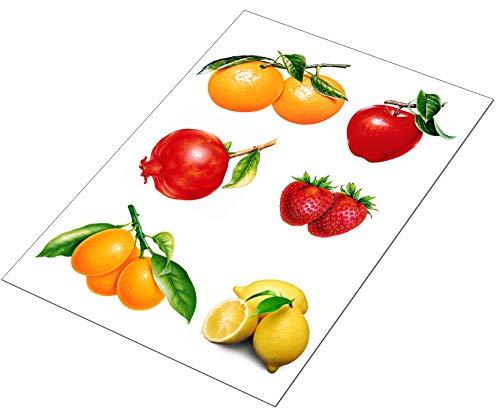 AWS 6 Stickers Obst Gemüse für Fliesen Küche Wasserdicht in 2 Größen Vinyl-Aufkleber Foglio Medio A4