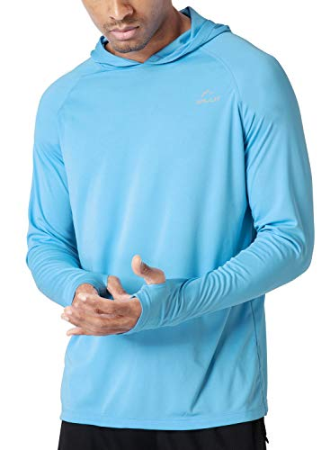 Willit Men's UPF 50+ Sun Protection Hoodie Shirt Long Sleeve SPF Fishing Outdoor UV Shirt Hiking Lightweight Blue L