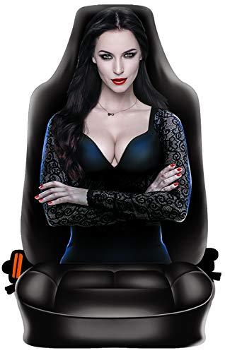 Geile-Fun-T-Shirts Autositzbezug - Dark Vamp Lady - Gothic Schonbezug Auto Sitzbezug geil Bedruckt und für Seitenairbag geeignet Geschenk-Set mit Urkunde