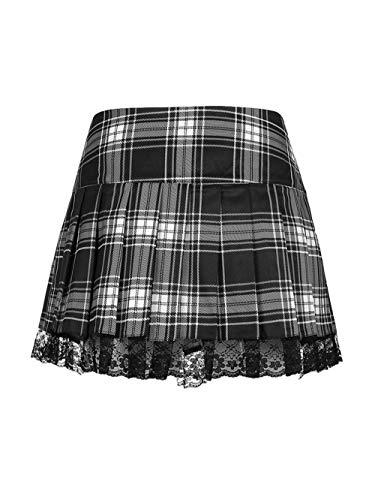 Faldas plisadas a cuadros rosas góticas con cordones, minifaldas plisadas de retazos de encaje sexis para mujer, góticas de cintura alta Y2k, rock punk oscuro, academia estética-D_S