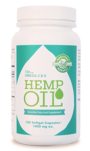 Manitoba Harvest Hemp Seed Oil Softgels, 2, 475Mg of Plant Based Omegas 3, 6 & 9per Serving, 120ct, 120Count
