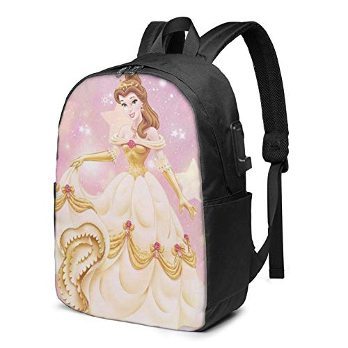 AOOEDM USB Backpack 17 in Beauty Beast Belle Laptop Backpack- with USB Charging Port/Stylish Casual Waterproof Backpacks Fits Most 17/15.6 Inch Laptops and Tablets/for Work Travel School