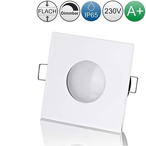 lambado® LED Spots Flach für Badezimmer IP65 in Weiss - Moderne Deckenstrahler/Einbaustrahler für Außen inkl. 230V 5W Strahler neutralweiß dimmbar - Hell & Sparsam