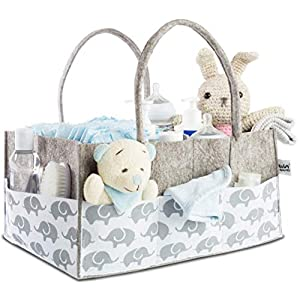 Baby Diaper Caddy Organizer for Nursery Essentials – Baby Moments Storage Bin for Changing Table, Nice Baby Shower Gift Basket for Boys and Girls