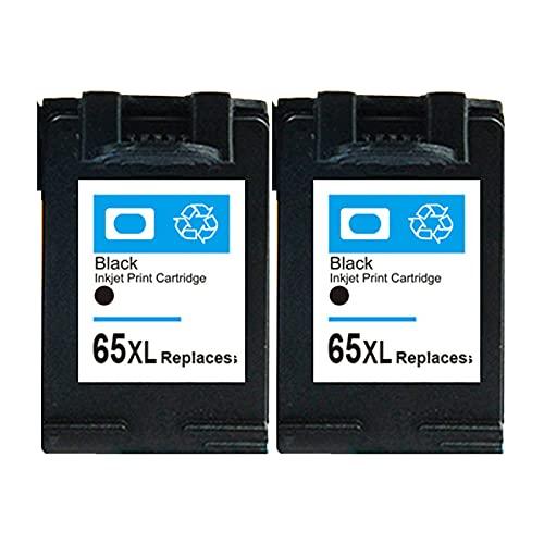RICR 65 XL Cartucho de Tinta Compatible para HP65XL, Alto Rendimiento Trabajo con envidia 4510 4511 OfficeJet 3830 3831 Deskjet 1110 1111 2136 3637 3638 Impresora Black x 2