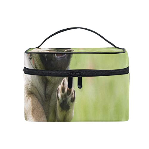 Trousse de maquillage Mignon Pug Puppy Cosmetic Bag Portable Grand Trousse de Toilette pour Femmes/Filles Voyage