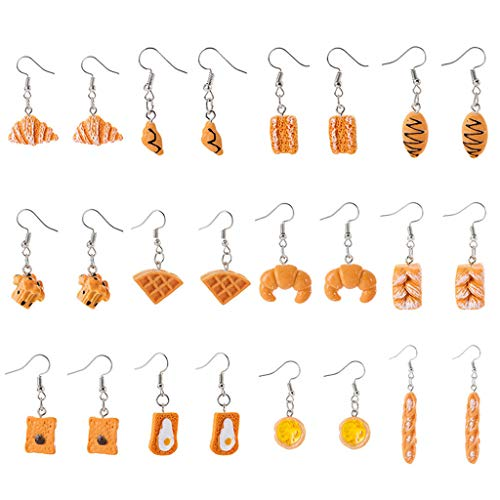 Myya 12 Pairs Simulation Bread Earrings Food Croissant French Bread Toast Dangle Earring Set Cute and Unique Rectangular Bread Earring Set Jewelry