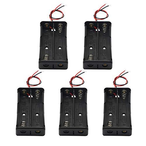 18650 batería Holde, 2 ranuras 3.7V DIY caja de almacenamiento de batería en serie de baterías de plástico caso KANGPING para batería 18650 con cable de conexión (paquete de 5)