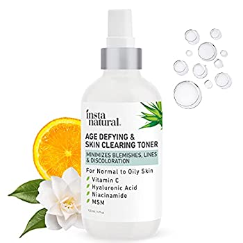 Vitamin C Skin Clearing Toner - Natural & Organic Anti Aging Facial Spray with Salicylic Acid & Hyaluronic Acid - Helps Wrinkle Dark Spot Fine Lines - Safe for Sensitive Skin - InstaNatural - 4 oz